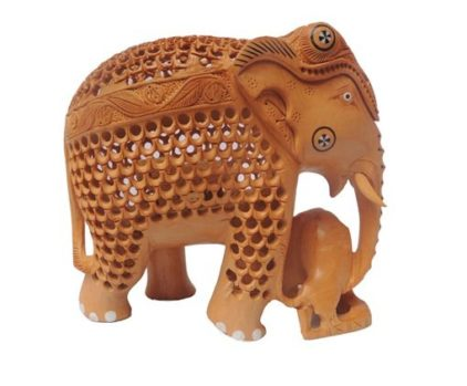 wooden elephant with lion