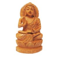 Hand carved wood buddha statue