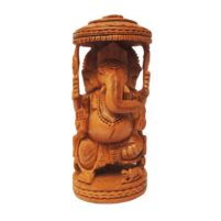 hand carved wooden ganesha