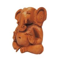 wood hand carved baby ganesha