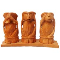 Wood Carved Gandhi Monkey Set