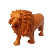 Indian Hand Carved Wood Lion Statue