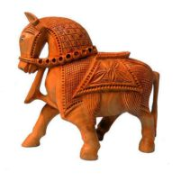 carved wood horse statue