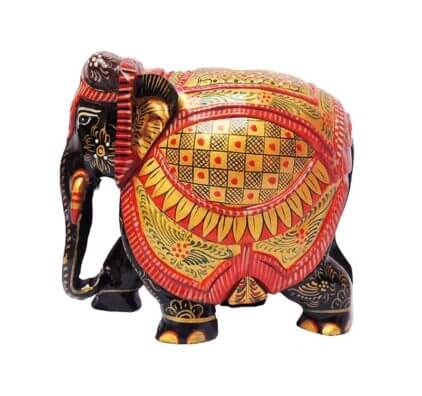 hand painted wooden elephant statues