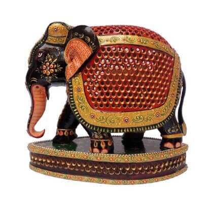 wooden painted elephant sculpture