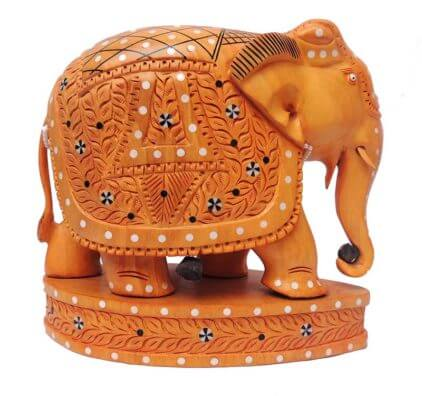 wooden inlay work carvings elephant on base