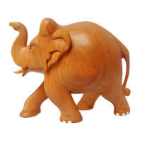 wooden elephant with trunk