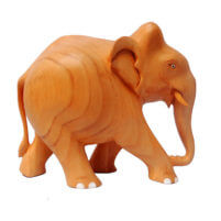 wooden elephant with trunk down
