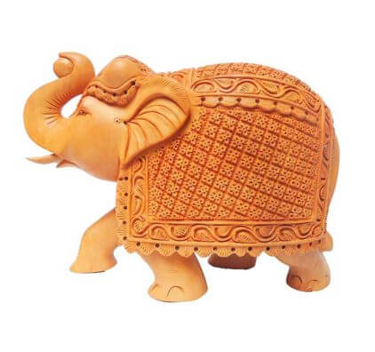 handcrafted square carving elephant