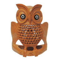carved wooden owl statue india