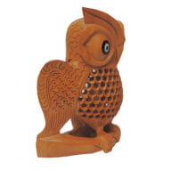 carved wooden owl india