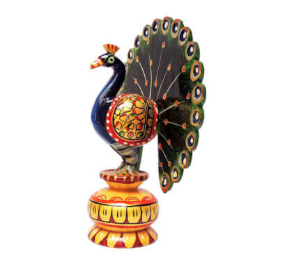 wooden hand painted peacock