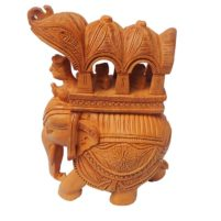 wood carved ambari elephant statue