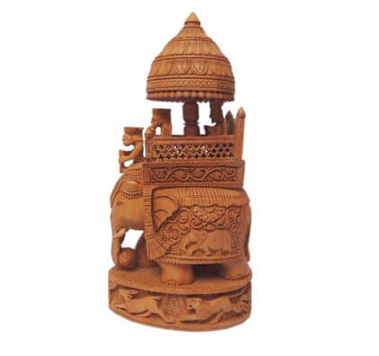Hand Carved Wooden Indian Royal Maharaja Ambabari Elephant