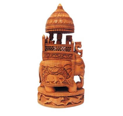 Hand Carved Wooden Ambabari Elephant