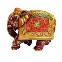 hand painted wood elephant