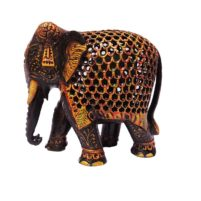 Jalee work antique painted wood elephant