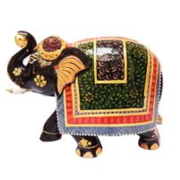 wood trunk up good luck elephant painted