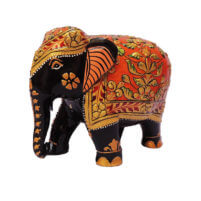 wood elephant with flower crafts