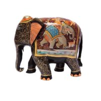 wooden shikhar painted wood elephant
