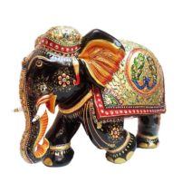 wood gold plated fine work elephant