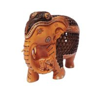 wood elephant baby in trunk antique finish