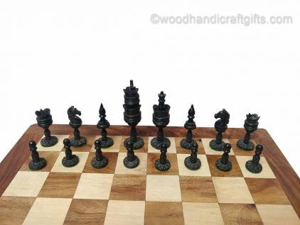 chess set bone black