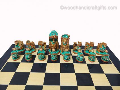 Indian chess pieces greeen
