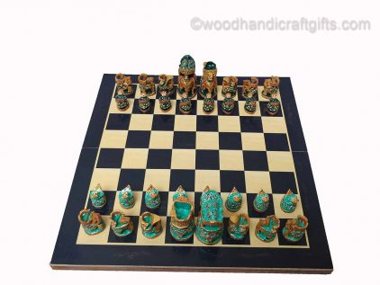 Indian chess pieces on board