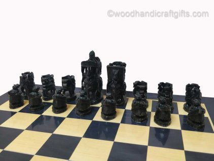 wooden chess set black